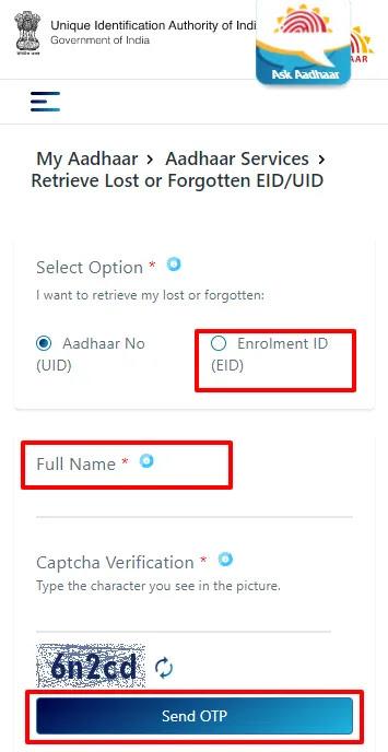 Download Aadhaar with Enrolment ID (EID)