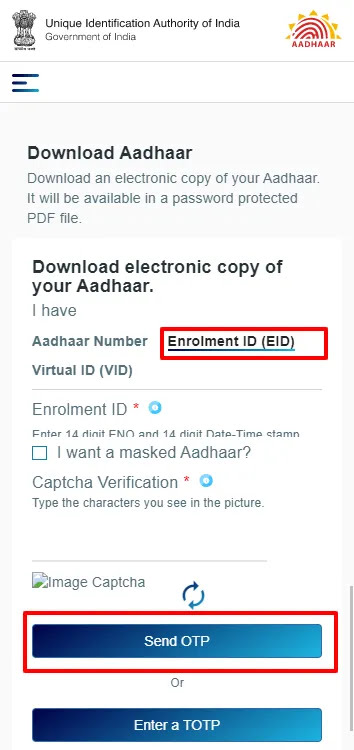 Download e-Aadhaar using Enrolment ID