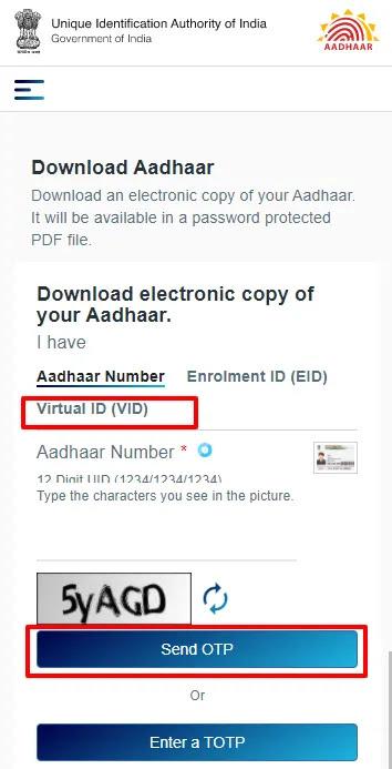 Download e-Aadhaar using Virtual ID