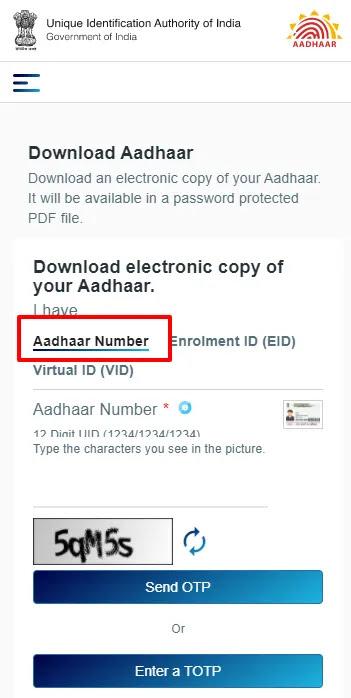 Download and Print Aadhaar by Using Your Aadhaar Number